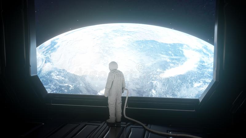 Alone astronaut in futuristic spaceship, room. View of the earth. 3d rendering stock illustration