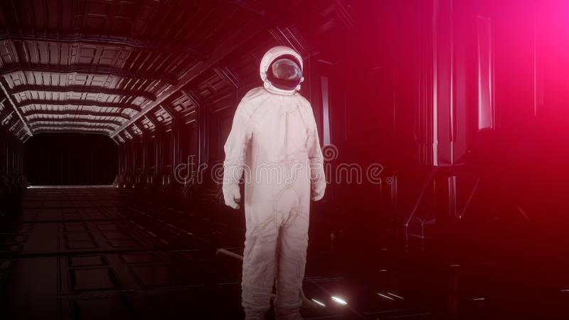Alone astronaut looks at the planet earth in futuristic interior, the planet earth reflects in a spacesuit helmet. Cinematic 3d stock illustration