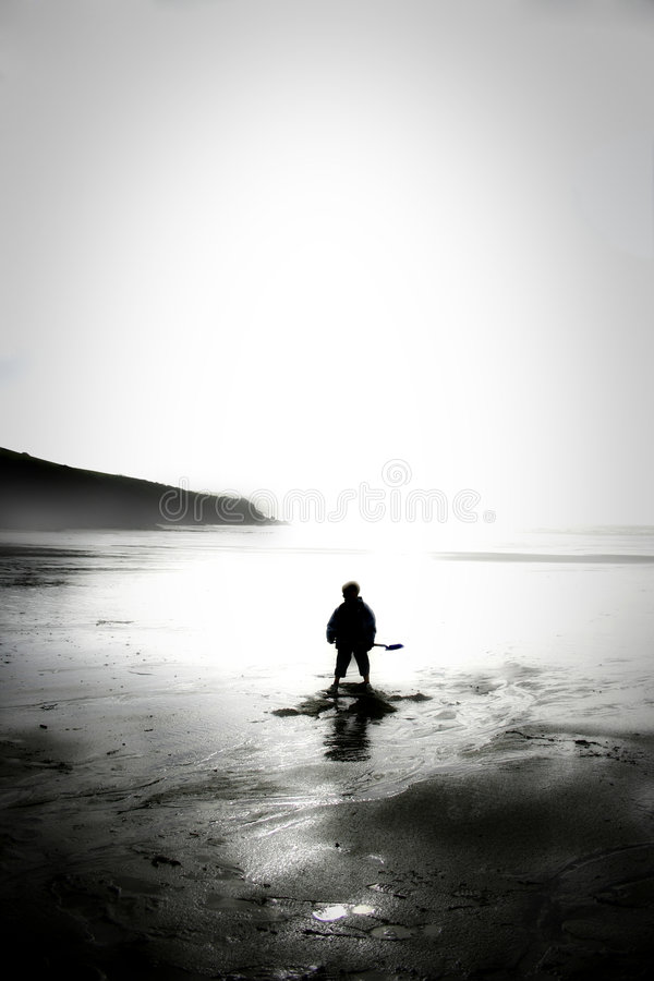 Alone on beach royalty free stock image