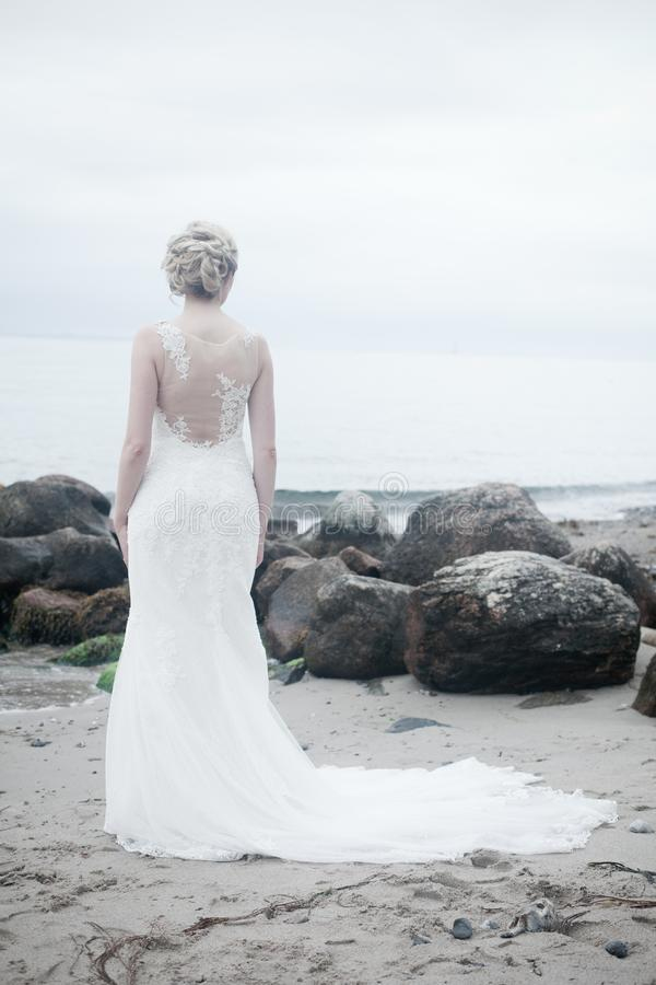 Alone, Beach, Bride, Dress royalty free stock images
