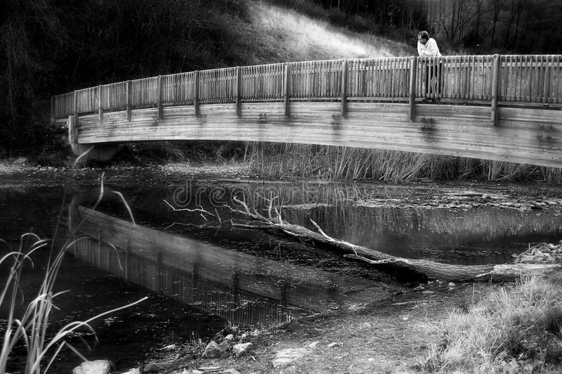 Download Alone On The Bridge Stock Photography - Image: 965392