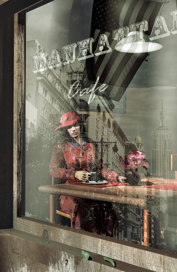 Alone at the cafe. Woman in the sixties, sitting behind a window, at a table in a cafe, waiting for someone who does not come. The Empire State building and stock illustration