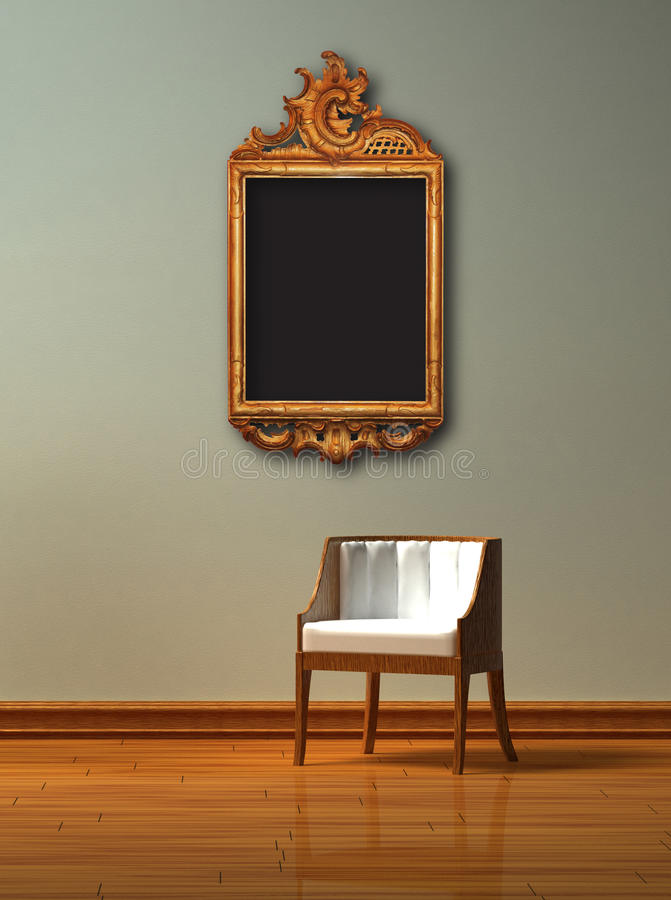 Download Alone Chair With Antique Frame Stock Photo - Image: 12840550