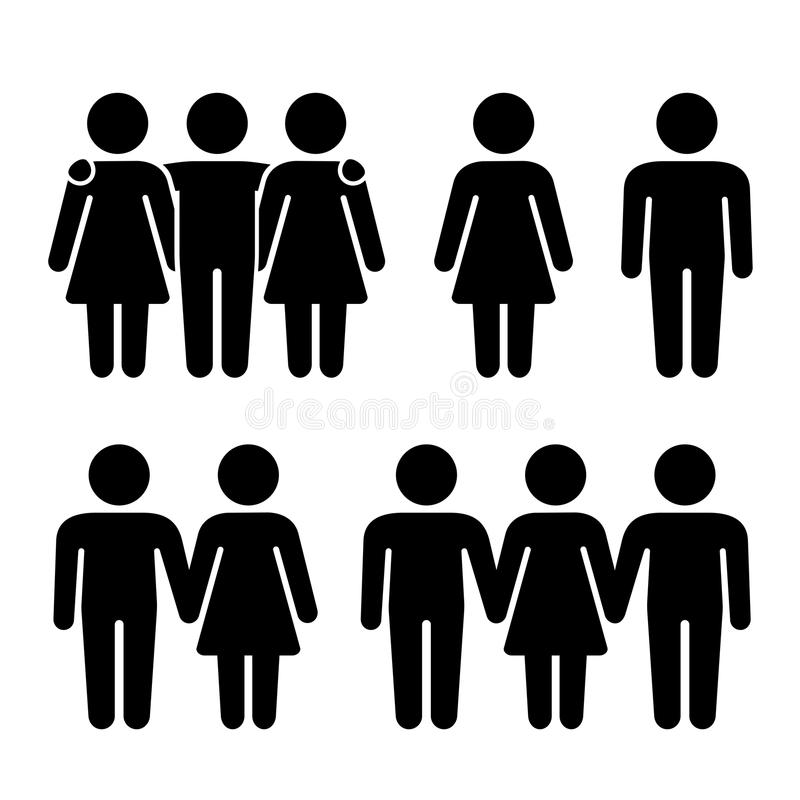 Alone, Couple and Threesome Human Icons Set. Sexual Relationships Combination. Vector. Illustration royalty free illustration