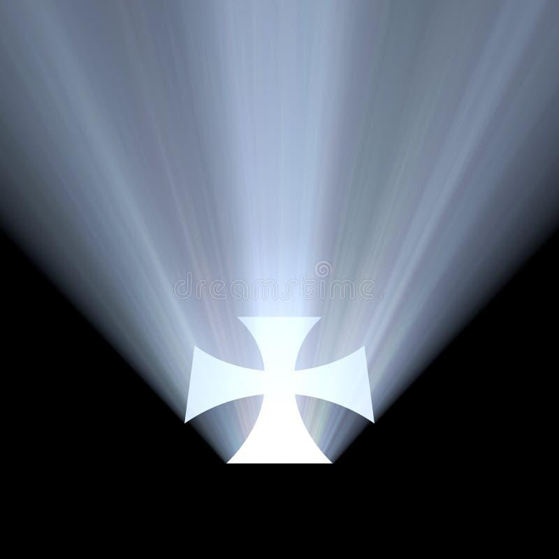 Alone della luce intensa di simbolo della croce celtica illustrazione di stock