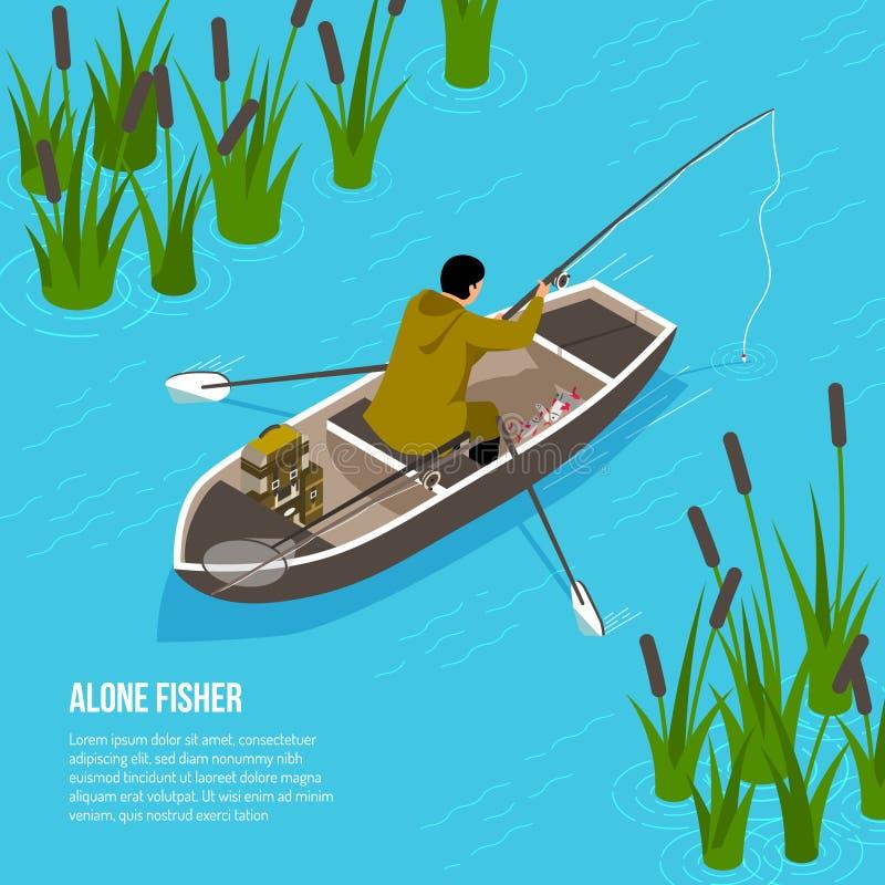 Alone Fisher Isometric Illustration stock illustration