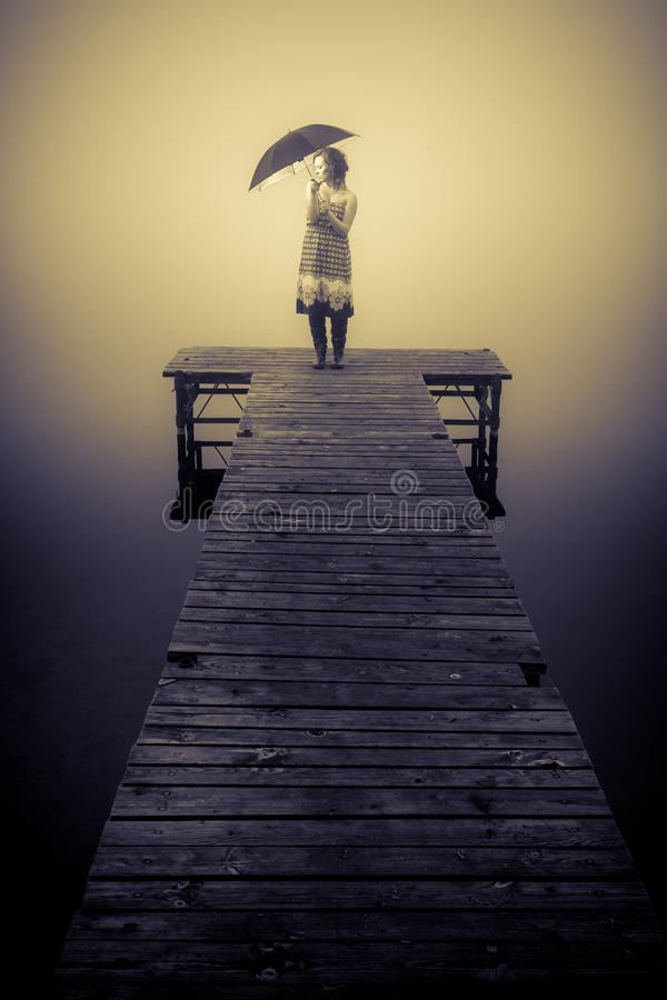 Alone in foggy day stock photography