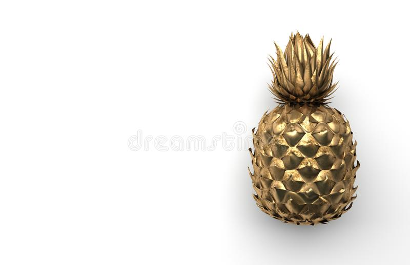 Alone gold pineapple isolated on a white background with space for text. Tropical exotic fruit. Front view. 3D rendering. royalty free illustration