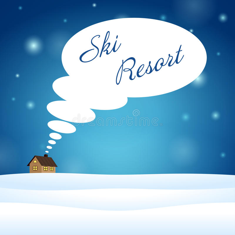 Alone house on snow think about ski resort royalty free illustration