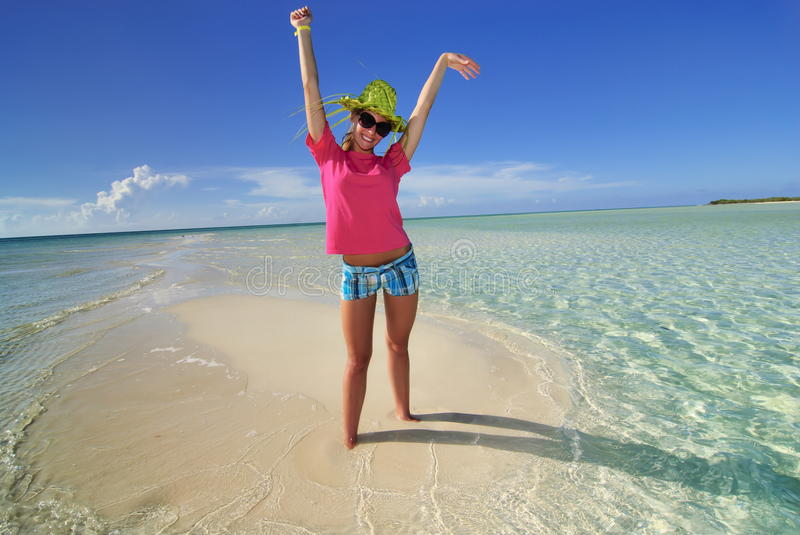 Alone on the Island. Girl alone on small island in Cuba royalty free stock photo