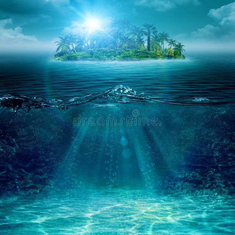 Alone island in ocean stock photo