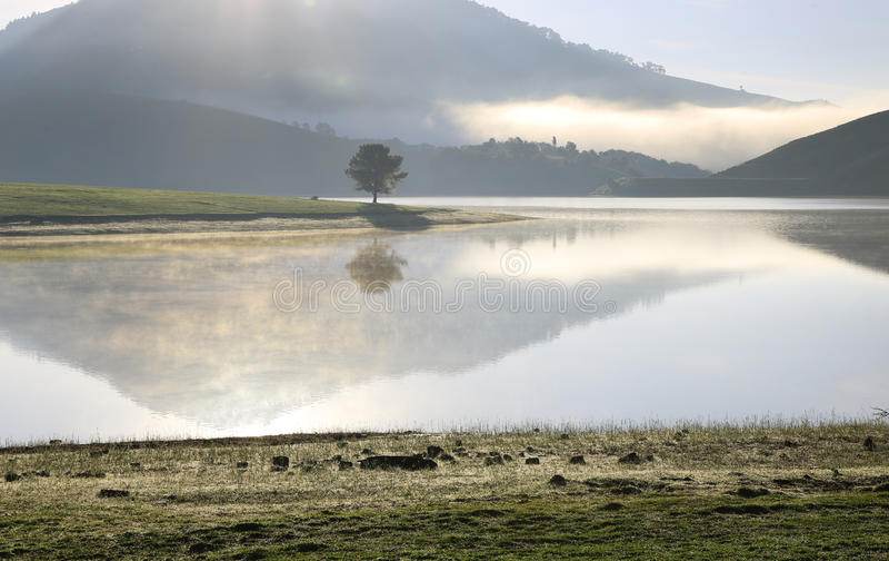 Alone in lake. Alone in Dankia lake, Dalat, Vietnam stock image