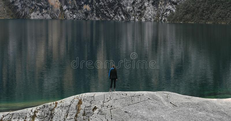 Alone at the lake stock images