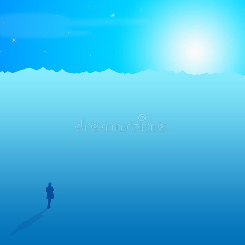 Alone and lonely. Finding yourself alone and lonely in life stock illustration