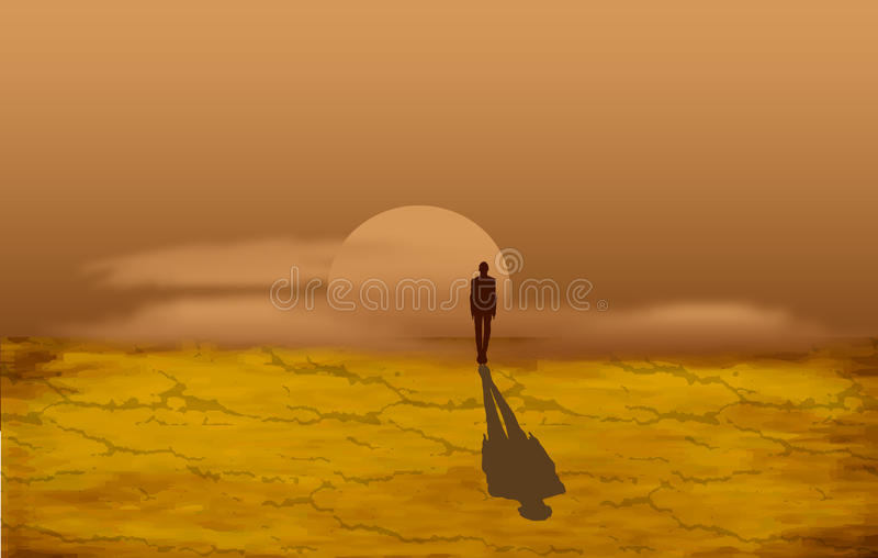 Alone man in the desert. Yong man in the desert at the sunset stock illustration