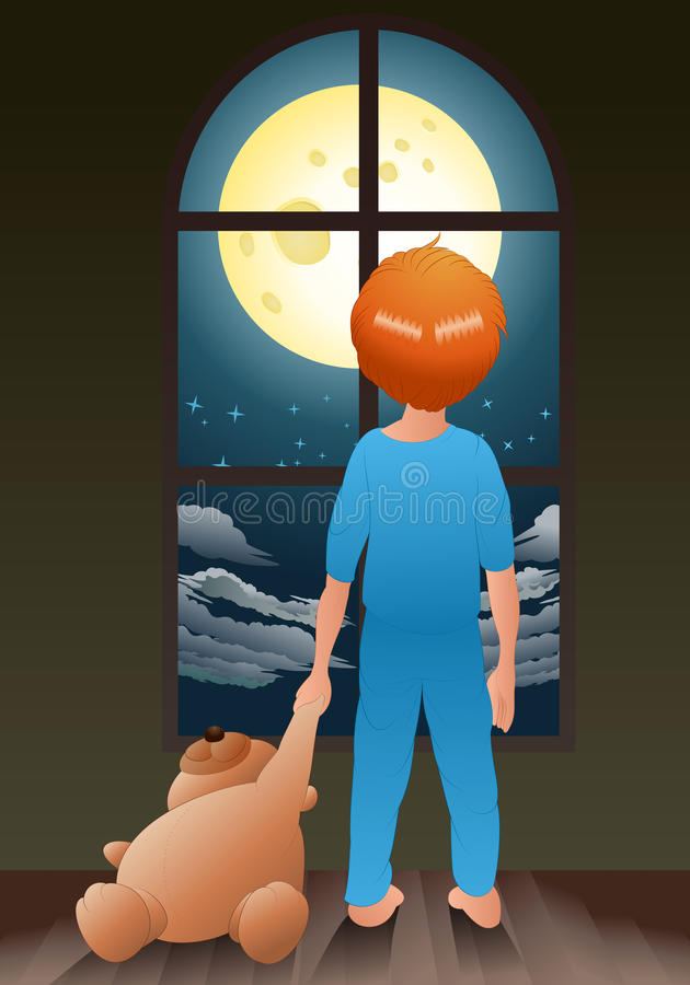 Alone at night. Illustration of a kid in pajamas hold bear doll going to sleep alone at night vector illustration