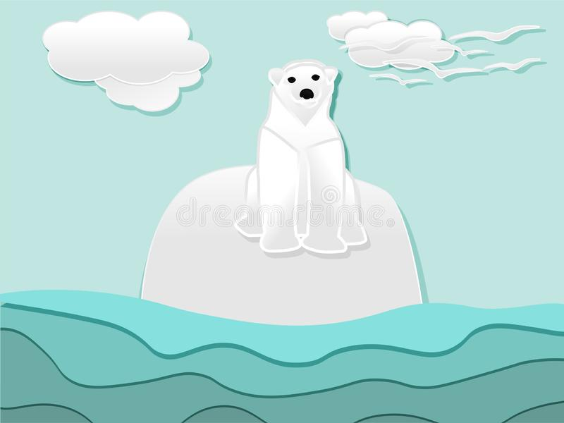 Alone polar bear on ice berg paper cut. Style,illustration vector vector illustration