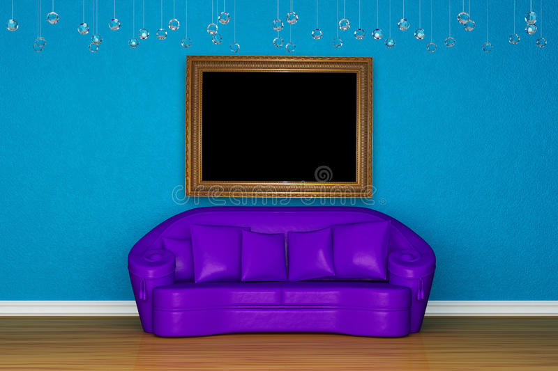 Download Alone Purple Sofa With Picture Frame Stock Photo - Image: 15368440