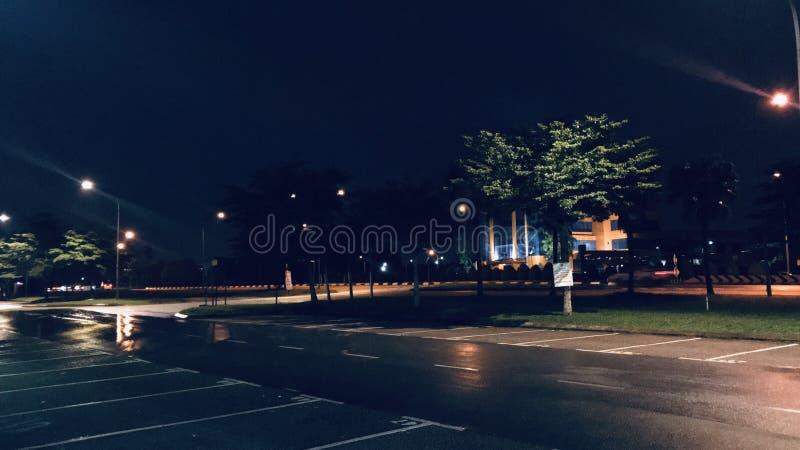 Alone Rainning Night. Street on Malaysia stock image