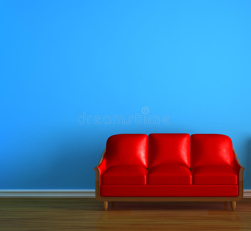 Alone Red Couch Royalty Free Stock Photography