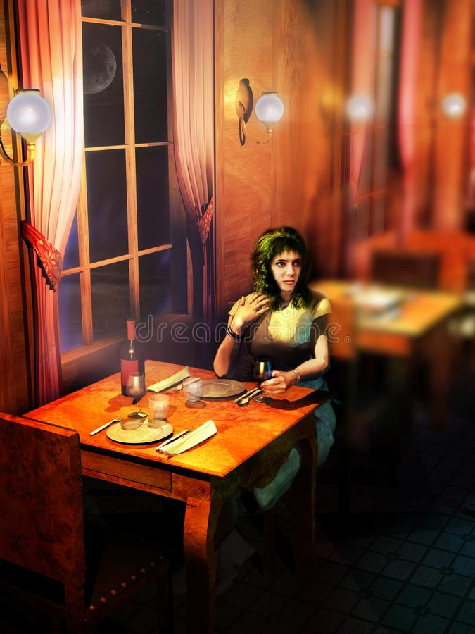 Alone at the restaurant. Cute woman drinking wine alone at a table of a restaurant, waiting for her accompanying person royalty free illustration