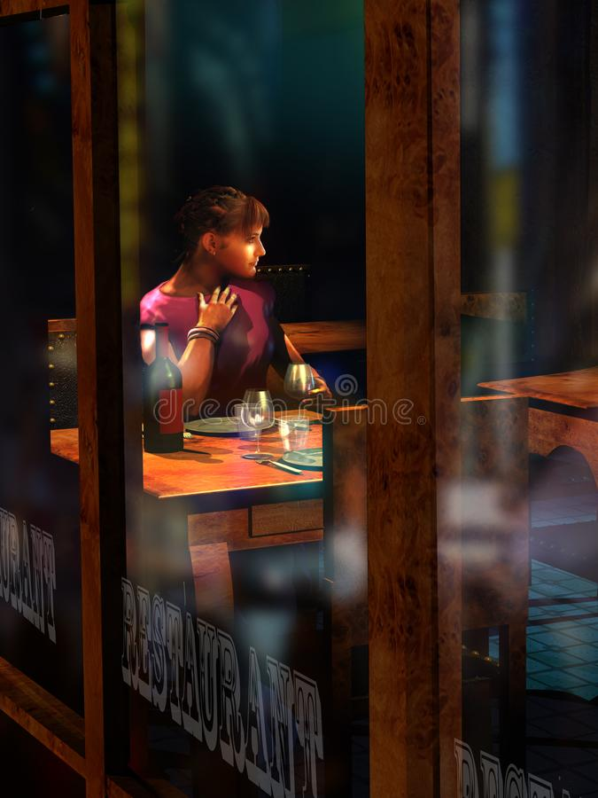 Alone at the restaurant at night. Cute woman drinking wine alone at a table of a restaurant, waiting for her accompanying person. The lights of the city at night royalty free illustration