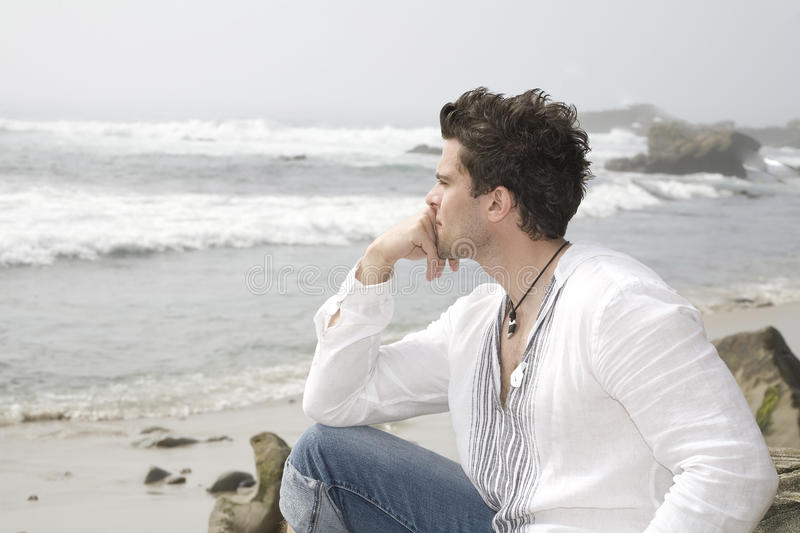 Download Alone by the sea stock photo. Image of thoughtful, vacation - 11558076
