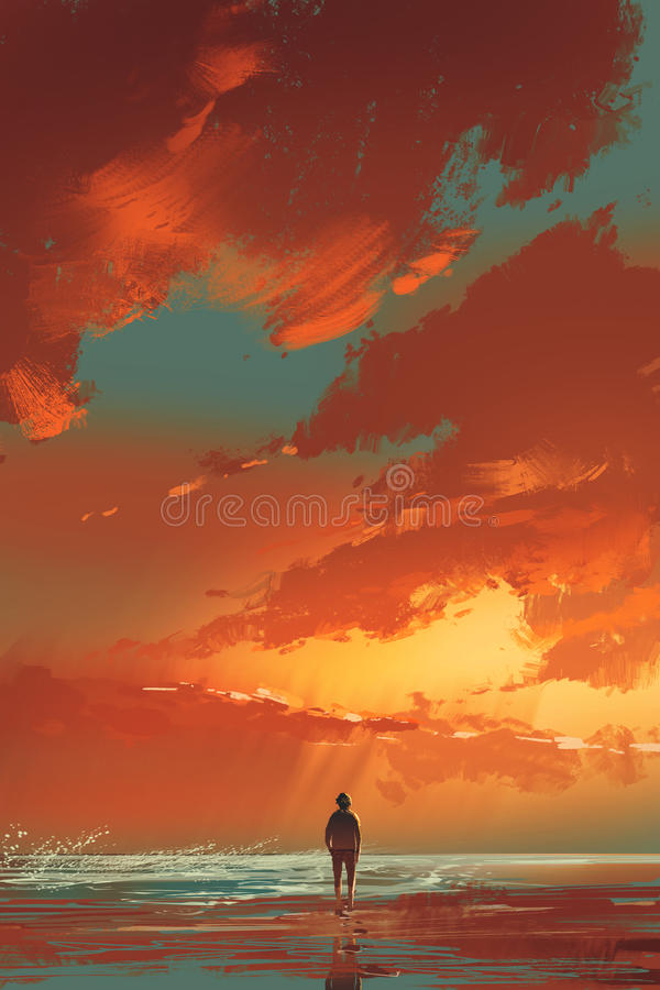 Alone by the sea. Lonely man standing on the sea under sunset sky,illustration painting vector illustration