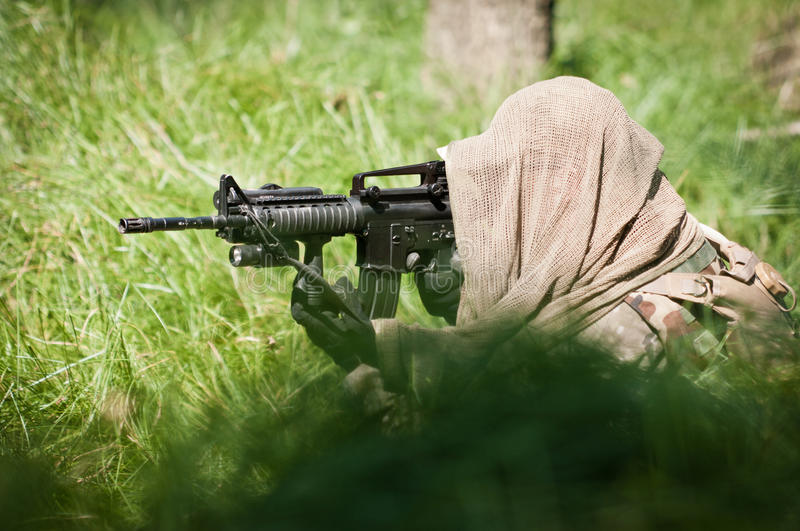 Alone soldier defending his ground