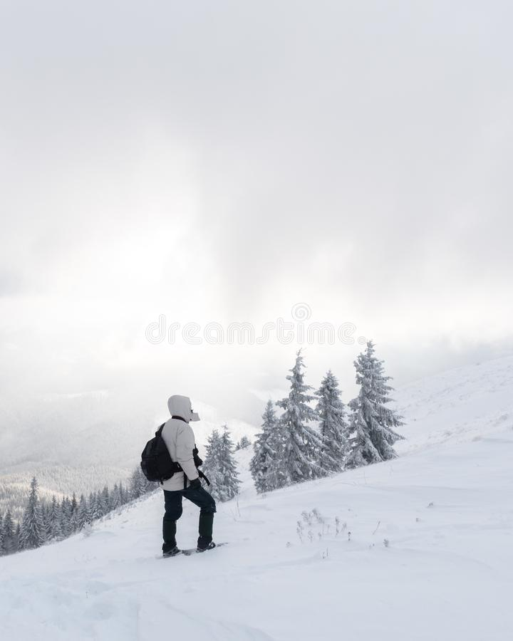 Alone tourist with a backpack stock photography