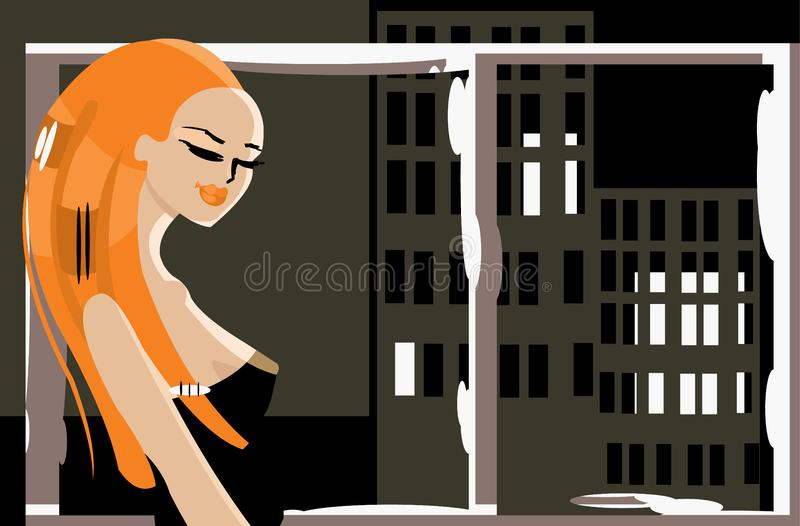 Download Alone woman stock illustration. Image of lips, picture - 6865920
