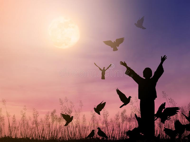 Alone woman praying and free bird flying to the dramatic sky background stock images