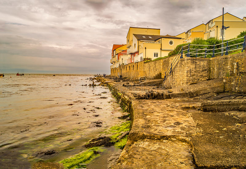 Along the coastal path at Swanage to Peveril Point. A coastal path right along the seafront at the water& x27;s edge in Swanage stock photos