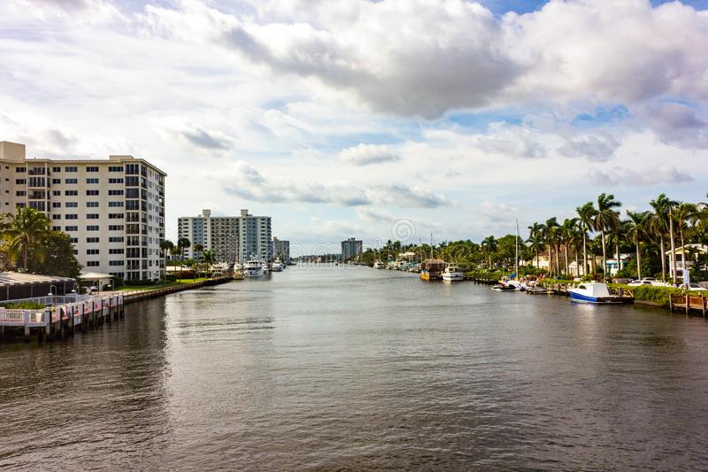 High Rise Buildings and Boats along the Inland Waterway in Delray Beach Florida. Along the inland water way in Delray Beach you can find many upscale boats and royalty free stock images