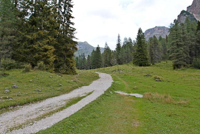Along the Vallunga trail, the long valley of Selva Val Gardena in Trentino Alto-Adige. Italy royalty free stock photography