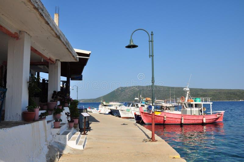 Alonissos island, Greece – June 28, 2016: Steni vala harbor port destination. Image stock images