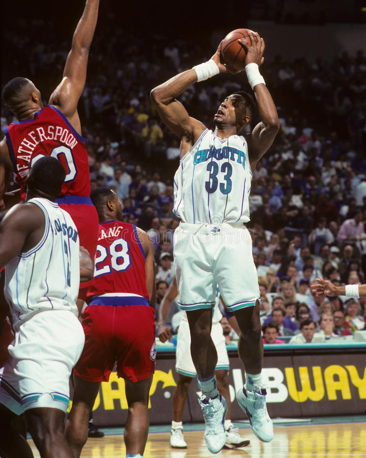 Alonzo Mourning Charlotte Hornets arkivfoto