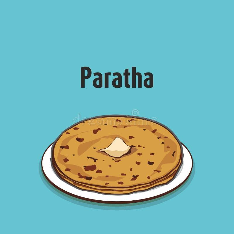 Aloo tradicional indio Paratha con mantequilla libre illustration