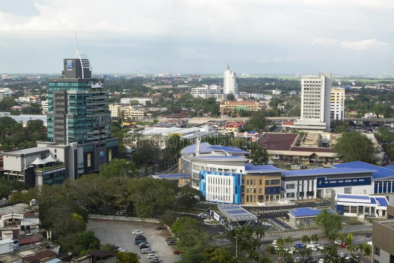 ALOR SETAR, MALAISIE, LE 9 JANVIER 2018 : Paysages urbains de vue aérienne de ville d'Alor Setar situés à la Malaisie péninsulair image stock