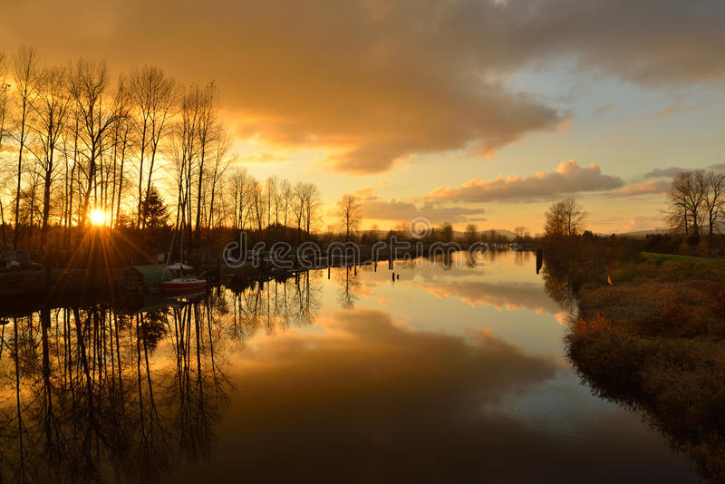 Alouette River, Pitt Meadows. Alouette River sunset, Pitt Meadows, British Columbia royalty free stock photos