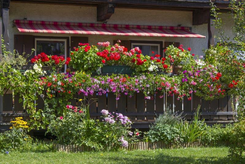 Alp dom z balkonem z kwiatem boksuje zdjęcie stock