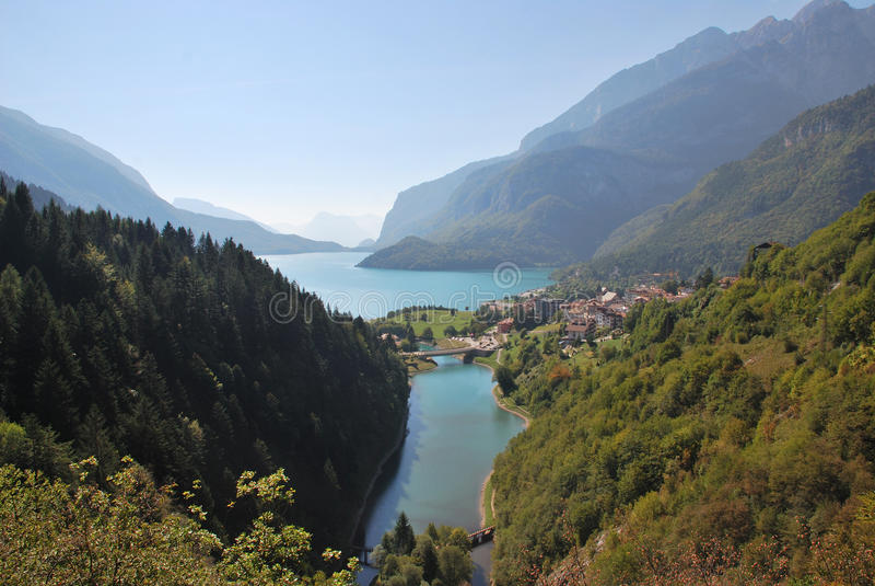 Alp lake in Italy. Alp lake Molveno in Italy royalty free stock photo