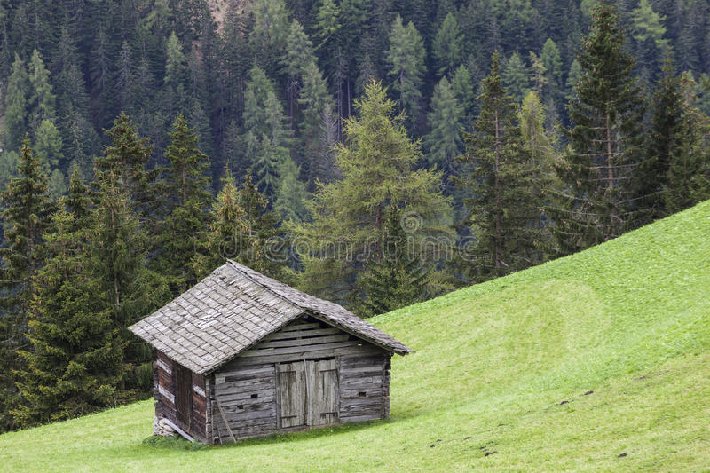 Download Alp wood shed on a slope stock image. Image of country - 25910549