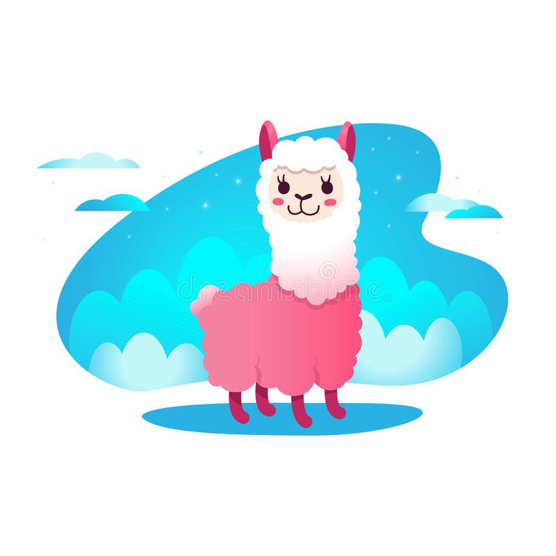 Alpaca de la historieta de la llama, animal del bebé del lama, ejemplo agradable del vector, diseño divertido lindo stock de ilustración
