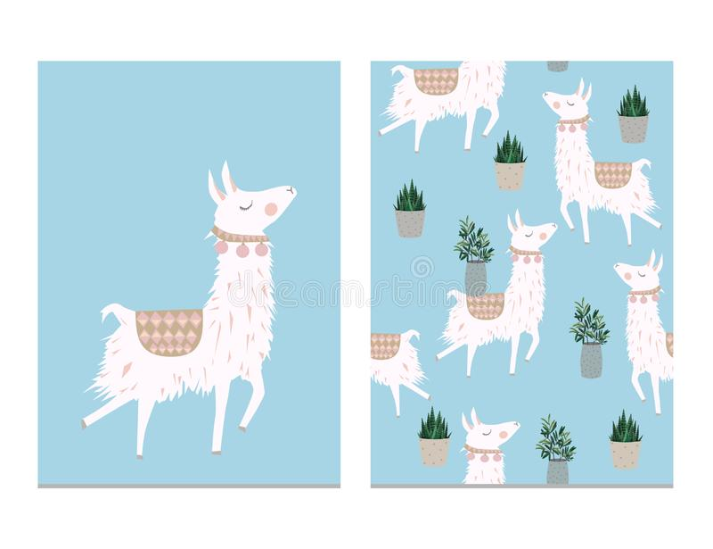 Alpaca de la historieta de la llama Ejemplo aislado vector animal de la llama ilustración del vector