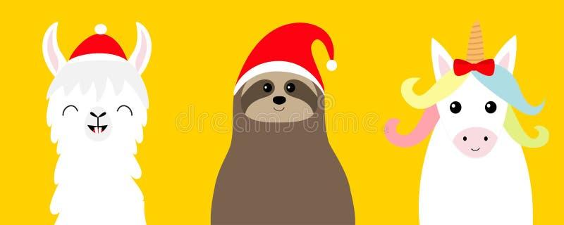 Alpaca de la llama, sistema de la cara de la pereza en el sombrero rojo de Papá Noel Feliz Navidad Feliz Año Nuevo Carácter diver libre illustration