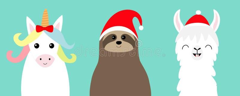 Alpaca de la llama, sistema de la cara de la pereza Sombrero rojo de Santa Feliz Navidad Feliz Año Nuevo Carácter divertido del k ilustración del vector