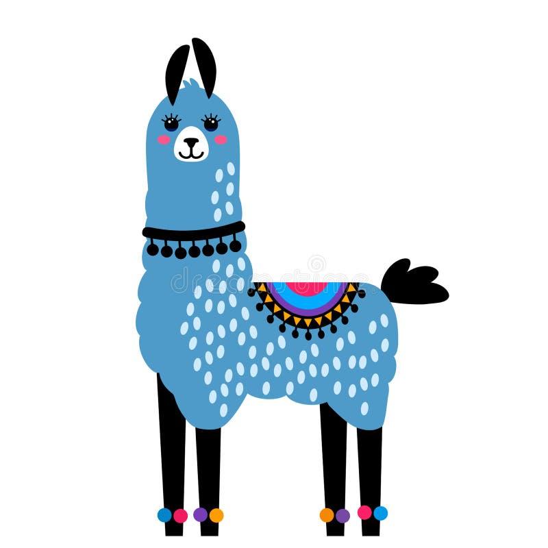 Alpaca divertida de la llama con los cactus Plantilla para imprimir en las materias textiles, camiseta ejemplo del vector, aislad stock de ilustración