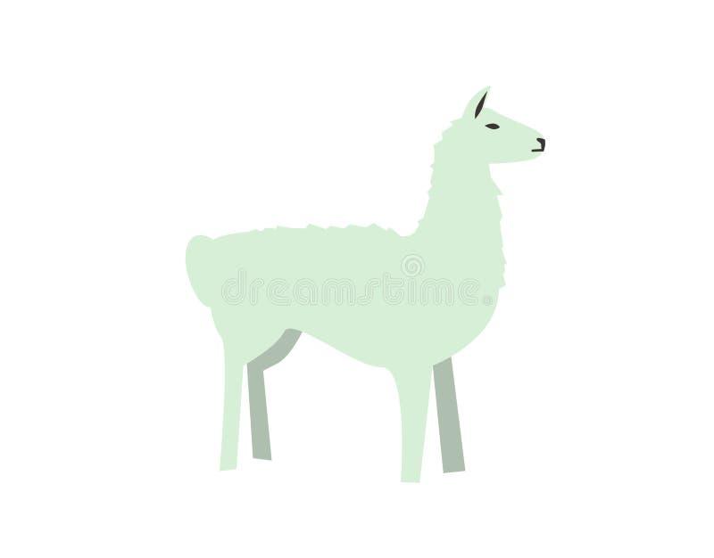 Alpaca engraçada, Lama Ilustração lisa do vetor Isolado no fundo branco ilustração royalty free