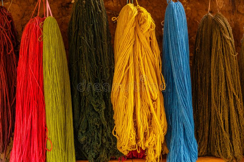 Colourful, Alpaca Wool, Peru. Alpaca fleece is the natural fiber harvested from an alpaca. It is light or heavy in weight, depending on how it is spun. It is a stock image